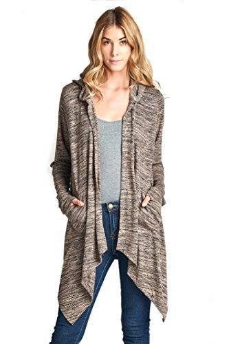 ReneeC. Asymmetric Fashion Cardigan Sweater Hoodie with Pockets - Made in USA (Large, Tan)