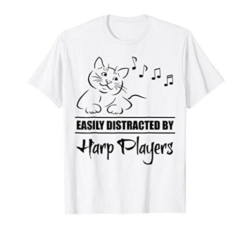 Curious Cat Easily Distracted by Harp Players T-Shirt