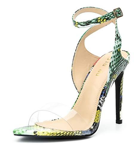 - Womens Snakeskin Strappy Heels Open Toe Slingback D'Orsay Ankle Strap Stiletto Heeled Sandal Green PVC Size 9.5