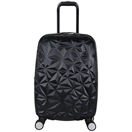 Aimee Kestenberg Womens Geo Chic 20 Hardside Expandable 8-Wheel Spinner Carry-on Luggage, Black