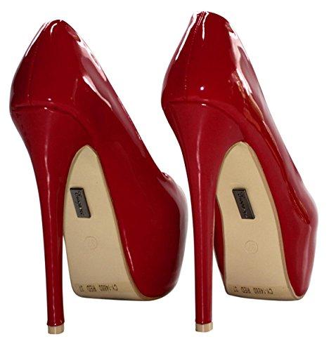 rosso Erogance Heels Tacco Donna High Rosso Plateaupumps Scarpe Col arOza8wq