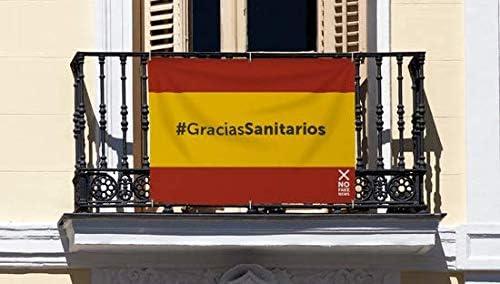 Bandera de Lona con el Hashtag #GraciasSanitarios Medidas 100 x 70 cm | Pancarta de Apoyo a Nuestros Sanitarios: Amazon.es: Hogar