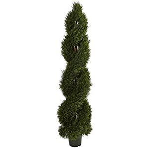 Nearly Natural UV Resistant (Indoor) Double Pond Cypress Spiral Topiary (in/Outdoor) Green 35