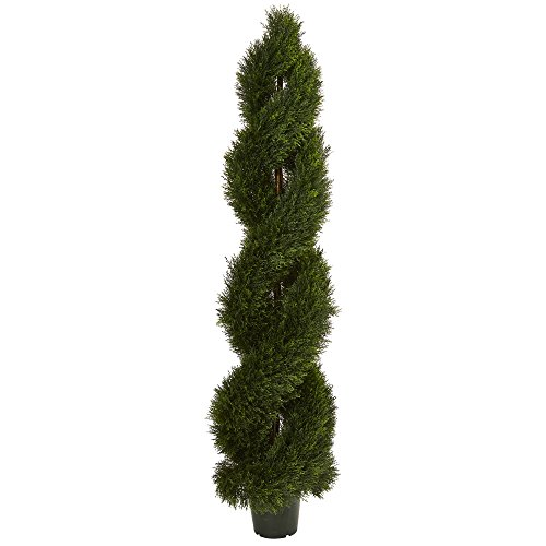 Nearly Natural UV Resistant (Indoor) Double Pond Cypress Spiral Topiary (in/Outdoor), Green ()