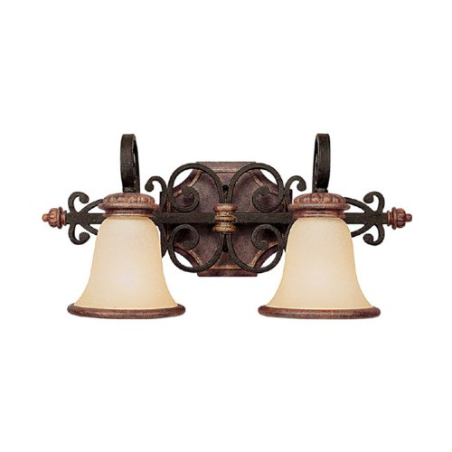 Capital Lighting 1072IU-252R Fox Borough Collection 2-Light Vanity Fixture, Iron and Umber Finish with Mist Scavo Glass Shades