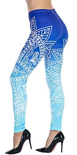 Ndoobiy Women's Printed Leggings Full-Length Regular Size Workout Legging Pants Soft Capri L1(MDL Blue OS)
