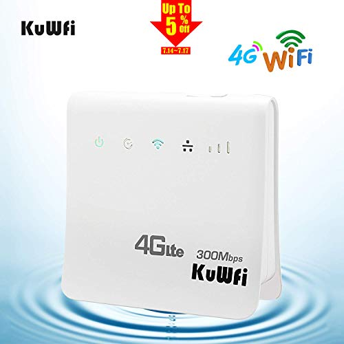 KuWFi 4G WiFi Router Unlocked 300Mbps 4G LTE CPE Mobile WiFi Wireless Router for SIM Card Slot with LAN Port Support Caribbean,Europe,Asia, Middle East & Africa Network 32 WiFi Users (4g Router With Sim Slot And Ethernet Port)