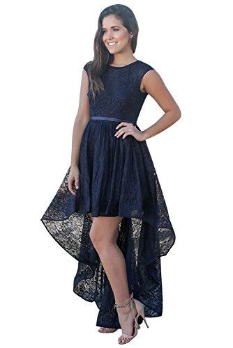 0226a9064e61 Floreale Da Elegante Scuro Pizzo Vestito Cerimonia Blu Orlo Damigella In Emmarcon  Abito Asimmetrico Donna Lungo 8FIqwUxZ
