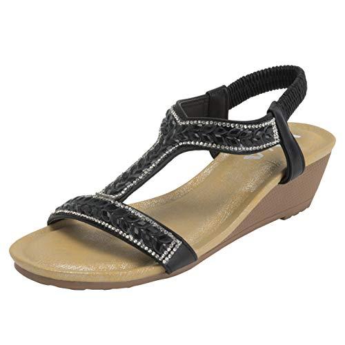 VIVASHOES Womens Pull On Platform Diamante Open Toe Wedge Heeled Sandals - Black - US7/EU38 - KL0424