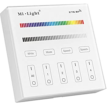 Light B3 Wireless 2.4G RF 4 Zones RGB/RGBW Wall Mounted Smart Panel Controller Powered By 2pcs AAA Batteries Only Work With Mi.Light RGB/RGBW Series The ...
