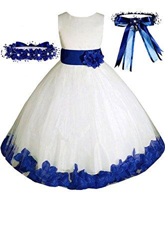 Little Girls' Ivory/royal Blue Dress w/Free Matching Hair
