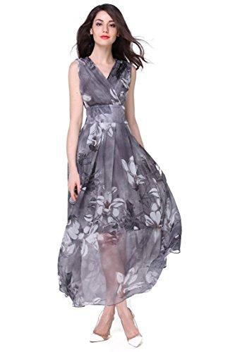 Joy EnvyLand Women V-neck Flower Prom Party Tunic Long Cocktail Beach Dress, Grey, X-Small