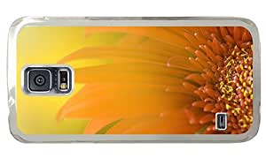 Hipster Samsung Galaxy S5 Case protective covers Orange Flower PC Transparent for Samsung S5