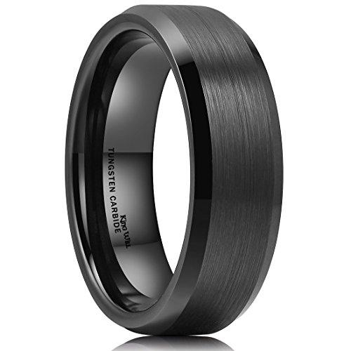 King Will Basic 7mm Men Black Tungsten Carbide Wedding Ring Brushed Finish Beveled Polished Edge 10.5 (Black Men 7mm For Rings Tungsten)