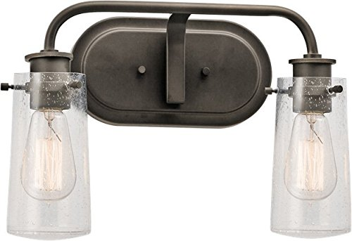 - Kichler 45458OZ Braelyn Vanity, 2 Light Incandescent 120 Total Watts, Olde Bronze