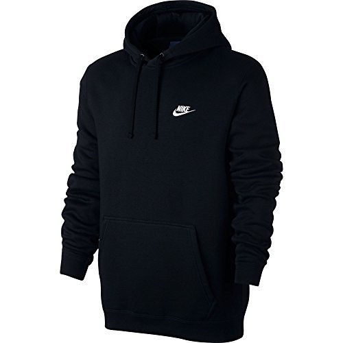 Nike+Mens+Sportswear+Pull+Over+Club+Hooded+Sweatshirt+-+Medium+-+Black%2FWhite