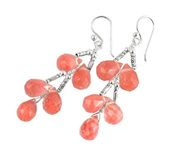 Sterling Silver Faceted Teardrops Tiered Wire-Wrapped Earrings, Cherry Quartz