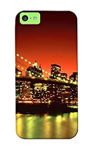 Case For Iphone 5c Tpu Phone Case Cover(night Lights On Bridge ) For Thanksgiving Day's Gift