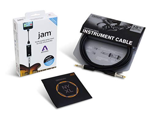 Apogee JAM Electric Guitar Accessory Bundle with D'Addario NYXL Light Strings and American Stage Cable by Apogee