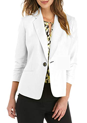 Kasper Womens Linen One Button Jacket with Notch Collar, New Lily White
