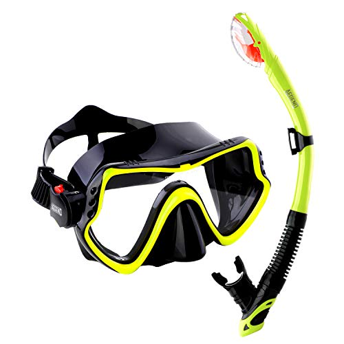 Aegend Dry Top Snorkel Set, Anti Fog Clear Vision Diving Mask and Free-Breathing...