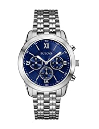 Bulova 96A174 Men's Stainless Steel Watch with Blue Dial