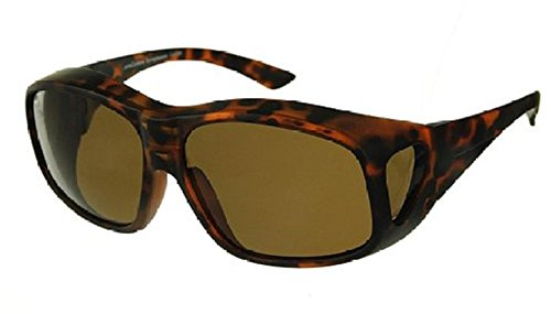 Men and Women Unisex Polarized Fit Over Sunglasses - Wear Over Prescription Glasses. Size Large. Tortoise (Carrying Case Included) (Bargain Sunglasses)