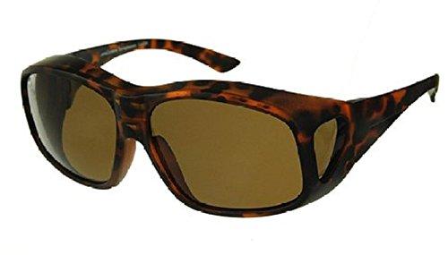 Men and Women Unisex Polarized Fit Over Sunglasses - Wear Over Prescription Glasses. Size Large. Tortoise (Carrying Case ()