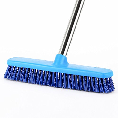 "YCUTE Commercial Floor Scrub Brush with Long Handle 52"", 12"" Multi-Surface Stiff Brush for Tile, Grout, Concrete, Patio, Garage, Deck and Outdoor Algae"