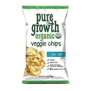 Pure Growth Organic Veggie Chips, Sea Salt, 3.5 Ounce