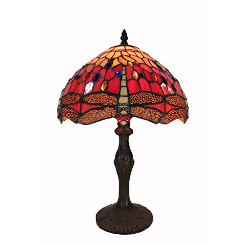 Whse of Tiffany G121467A Tiffany Style Dragonfly Table Lamp - Red
