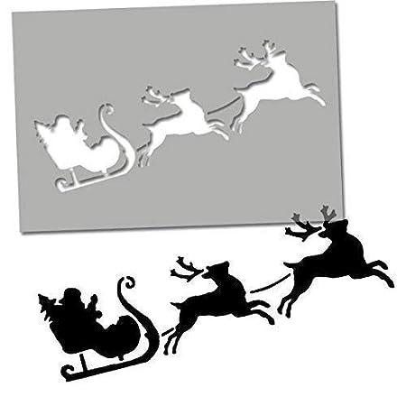 Amazon Com Father Christmas Sleigh Reindeer Stencil