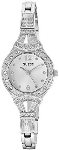Guess Womens Crystal Bracelet Watch (GUESS Women's Stainless Steel Crystal Vintage-Inspired Bracelet Watch, Color: Silver-Tone (Model: U1032L1))