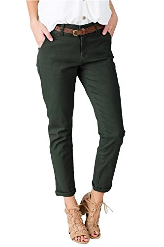Sherrylily Womens Casual Mid Waisted Relaxed-Fit Long Pants Solid Color Trousers with (Khaki Green Color)
