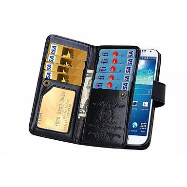 Casos hermosos, cubiertas, 2 en 1 ranura cajas del teléfono cubierta de la carpeta de cuero flip Sot 9 de tarjetas magnéticas para la nota 3/4 nota / nota 5 ( Color : Negro , Modelos Compatibles : Gal Negro