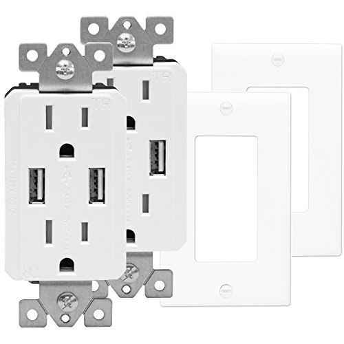 TOPGREENER TU2152A-W-2PCS Wall Outlet with USB, Dual USB Charger Outlet, USB Receptacle, USB Wall Outlet, 15A Tamper-Resistant Duplex Receptacle, Wall Plates Included, White (Pack of - White Duplex Adapter