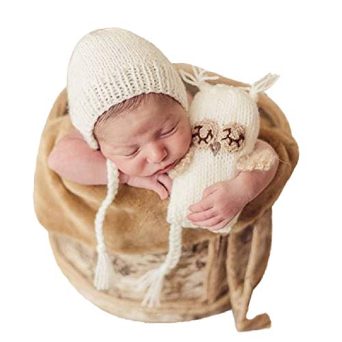 MIOIM 2PC Newborn Baby Boys Girls Merry Christmas Photography Props Infant Santa Claus Knit Photo Outfits (0-6 Months, White)