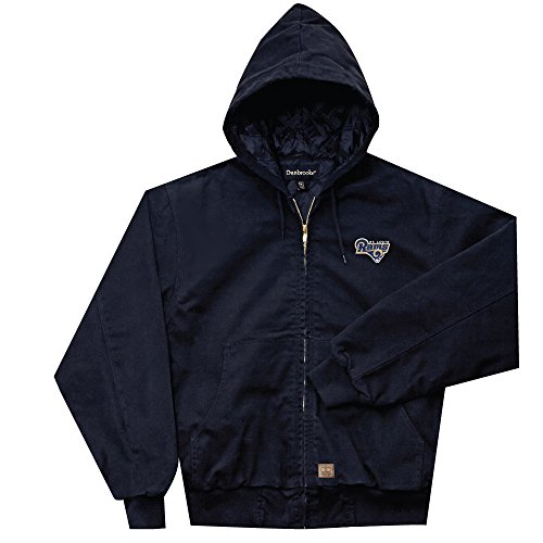 NFL St. Louis Rams Cumberland Canvas Quilt Lined Hooded Jacket, Navy, X-Large