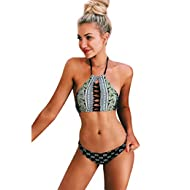 Women's Black Lace Up Halter Padding Bikini Set