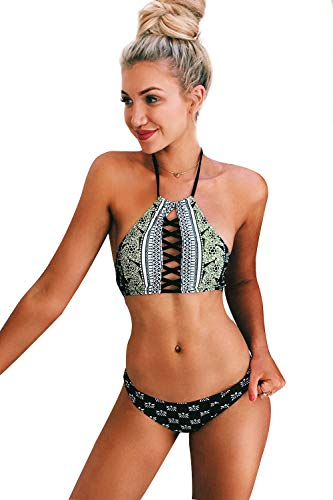 (Cupshe Fashion Women's Black Lace Up Halter Padding Bikini Set (S), Black)