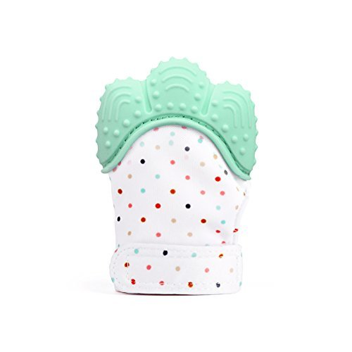 Baby Teething Mitten, Silicone Baby Teether Mitten for Babies Self-Soothing Pain Relief, Wearable Baby Teething Toy Teething Glove, BPA Free Safe Food Grade Baby Teething Mitt, Green