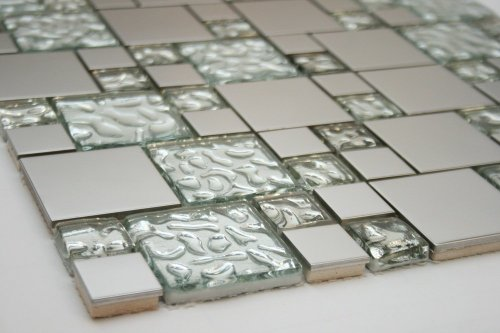 Newport Silver Leaf Blend 12 in. x 12 in. Mesh-Mounted Stainless Steel & Glass Mosaic Tile - 4 in. x 4 in. Sample - SAMPLE LISTING - ONLY ONE ALLOWED PER HOUSEHOLD