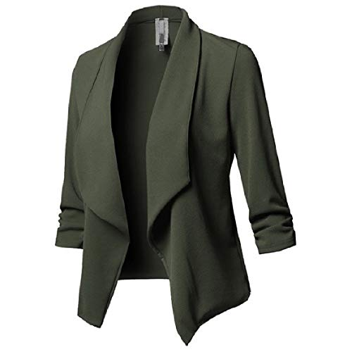 Open Pleated Collar RkBaoye Outdoor Women's Solid Green Coats Long Down Sleeve Turn Front qZZTxY0O