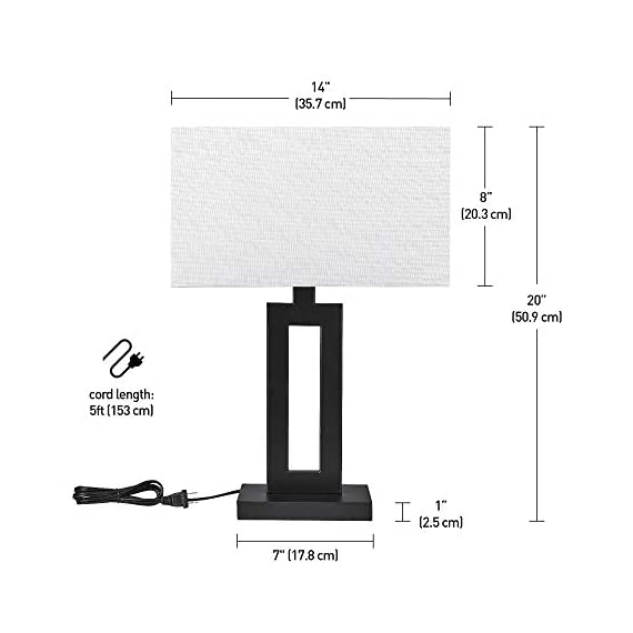 "Globe Electric 67045 D'Alessio Table Lamp, 20"", Matte Black - MODERN DESIGN: a trendy cutout body and rectangular linen shade offers a modern design that will stand the test of time WHITE LINEN SHADE: offering a bright but diffused light, a white linen shade brings a classic element to any space while allowing you to give your lamp and room a warmer or colder look depending on the bulb color temperature you choose PERFECT HEIGHT: a 20-inch height is perfect for a side table, bedside table or entryway table - lamps, bedroom-decor, bedroom - 41p9MR0ju3L. SS570  -"