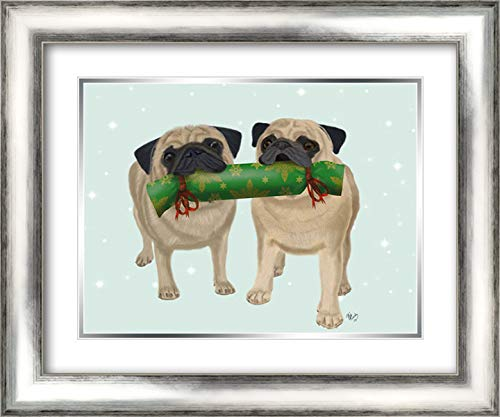 Christmas Pug Pair and Cracker 24x20 Silver Contemporary Wood Framed and Double Matted Art Print by Fab Funky