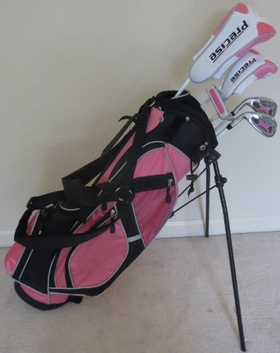 Left Handed Girls Junior Golf Club Set with Stand Bag for Kids Ages 8-12 Pink Color LH Premium Professional Quality by PG Golf Equipment