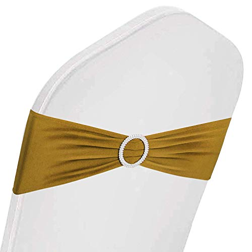 Cover Stretch Satin - VEVOR 100 PCS Stretch Wedding Chair Bands Large Occasions Stretch Chair Cover Sash Bow Spandex Chair Sash for Wedding Party Hotel Event Decoration (Stretch Band, Gold/100PC)