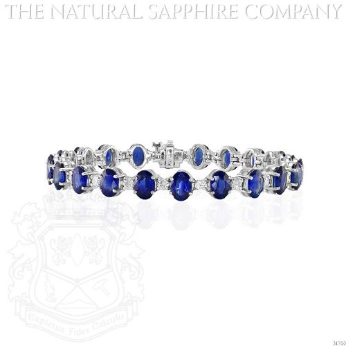 Estate Style 14K White Gold, Sapphire and Diamond Bracelet. (J4700) - Blue Sapphire Estate Bracelet