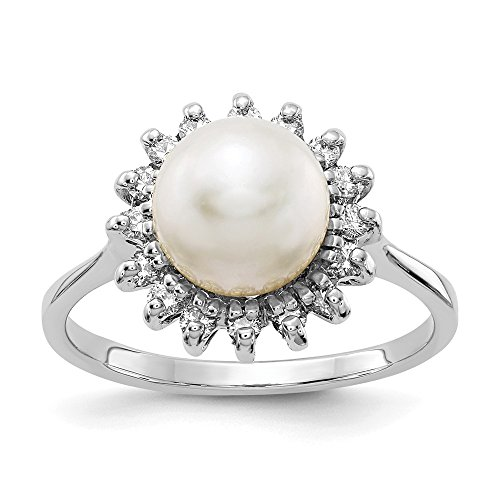 (14K White Gold 7.5mm FW Cultured Pearl AA Diamond Ring)