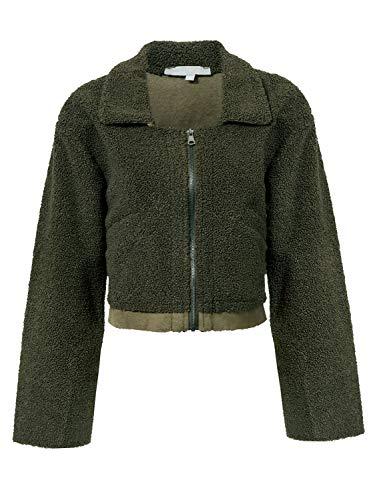 Missy Chilli Women's Faux Lambswool Lapel Jacket Warm Zipper Outwear Basic Coat Green 4/6